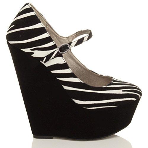 Chaussures babies plateforme fermées à talons hauts compensés femmes taille Daim zébre