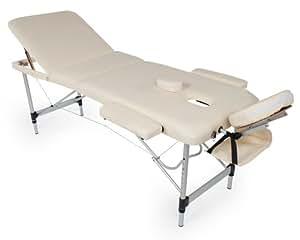 TecTake Table de massage pliante aluminium cosmetique lit de massage portable beige
