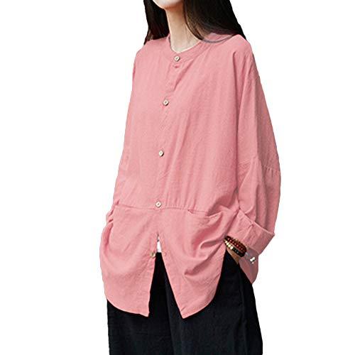 MRULIC Damen Leinen Gemütlich Leinen Dünnschnitt Lose langärmelige Bluse T-Shirt Pullover(Y4-Rosa,EU-40/CN-M)
