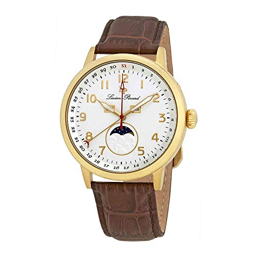 Lucien Piccard Silver Dial Leather Mens Watch 40016-YG-02S-BRW