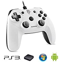 EasySMX [PC / PS3 Wired Controller] Gamepad USB Verdrahteter Game Kontroller Joystick mit Dual-Vibration Feedback für PC / PS3 / TV Box/Android Handys (weiß)