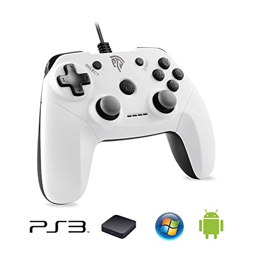 EasySMX Gamepad para PS3, EG-C3071 USB Gaming Mando Game Controlador Joystick con Doble-Vibración Compatible con PC/PS3/TV Box/Android Phones (Blanco)
