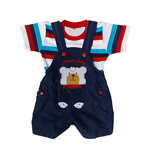 Littly Baby Denim Dungaree Set (Red)