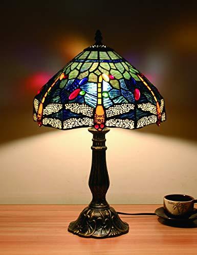 12-Zoll-europäischen Vintage-Stil Glasmalerei Blue Dragonfly And Pearl Warm Farbige Serie Tischlampe Schreibtischlampe Nachttischlampe