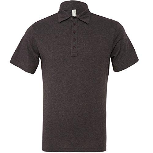 Canvas Jersey Herren Polo-Shirt / T-Shirt mit 5 Knöpfen, Kurzarm Dark Heather Grey