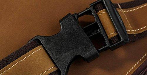 FZHLY Leder Brust-Tasche Retro Kuhfell Große Kapazitäts-Men Messenger Bag,Brown DarkBrown