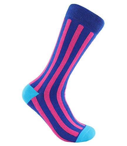 Preisvergleich Produktbild MMD farbige Herren Socken mit trendigem Muster   Vertical Stripes Pink   elastische Grösse 39-46