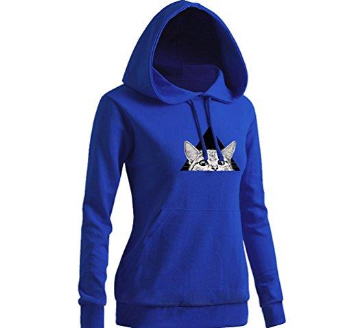 NiSeng Donna Hoodies Sweatshirt Bello Gatto Stampato Felpa Con Cappuccio Ragazza Manica Lunga Sportive Pullover Blu