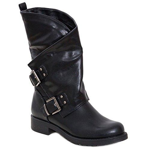 Toocool - Stivali Donna Bassi Biker Boots Motociclista Stivaletti Fibbie Anfibi SA9907 [40,Nero]