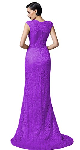 Ikerenwedding Frauen Spitzen Applikationen Platz Ausschnitt Hohe Taille Abendkleid Lila