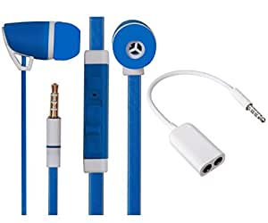 Value Combo Of Premium 3.5mm Designed In Ear Bud Headset Earphones and Stereo Jack Splitter Cable For Alcatel One Touch Hero 2 -Blue