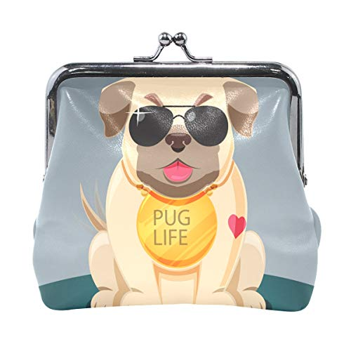 Cool Pug with Sungalsses Print Leather Coin Purse Mini Pouch Exquisite Buckle Change Purse Wallets Clutch Handbag