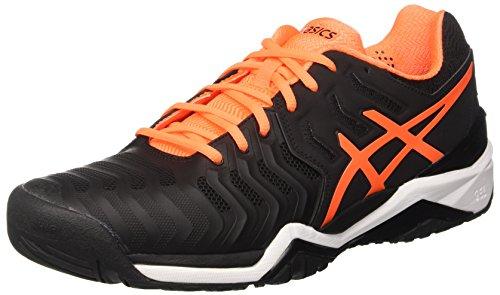 Asics Herren Gel-Resolution 7 Tennisschuhe, Schwarz (Black/Shocking Orange/White), 47 EU (Gel Resolution-tennis-schuhe)