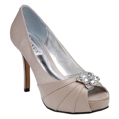 Talon pour Lexus Peep Toe Chaussures compensées Cour 'Star'avec garniture avec des strass. Beige - Taupe