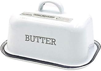 Große Emaille-Butterdose Mit Deckel