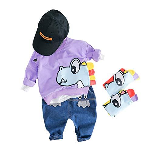 Baby Jungen Kleidung,TTLOVE Kleinkind Kinder Sweatshirt Dinosaurier Cartoon Pullover Lange Ärmel Tops+Lange Hosen Jeans Outfits Babykleidung Set(Lila,(80 cm,12-18 Monate))