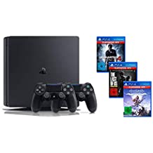 PlayStation 4 - Hits Bundle (1TB, schwarz, slim) inkl. Uncharted 4, The Last of Us, Horizon Zero Dawn + DualShock 4 Controller (schwarz)