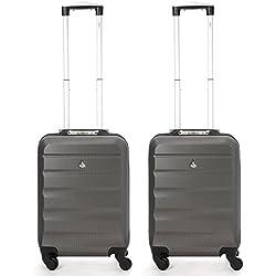 Aerolite valigia trolley bagaglio a mano con scocca rigida in ABS leggero, 4ruote (set di 2, antracite)