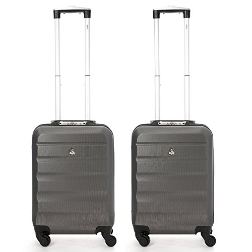 Aerolite ABS Hard Shell Lightweight 4 Wheel Carry On Cabin Hand Luggage Travel Suitcase (Set of 2, Charcoal)
