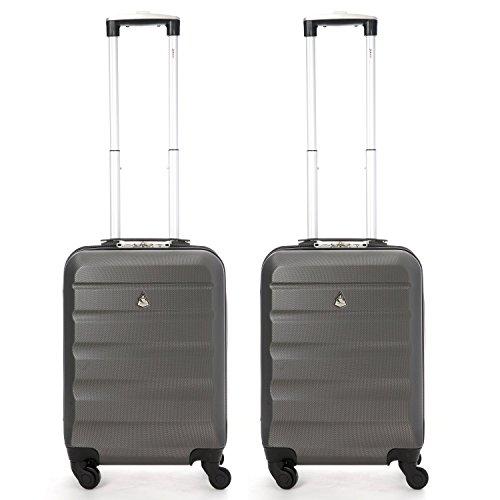 Aerolite Leichtgewicht ABS Hartschale 4 Rollen Handgepäck Trolley Koffer Bordgepäck Kabinentrolley Reisekoffer Gepäck , Genehmigt für Ryanair , Easyjet , Lufthansa und Vieles Mehr 2 Teilig Kohlegrau