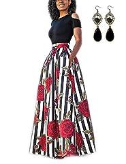Idea Regalo - carinacoco Donna Vestiti Lunghi Due Pezzi Senza Spalline Manica Corta Camicetta + Rosa Stampa Gonne Lungo Elegante Vestito Maxi da Sera,Nero+Bianco,S