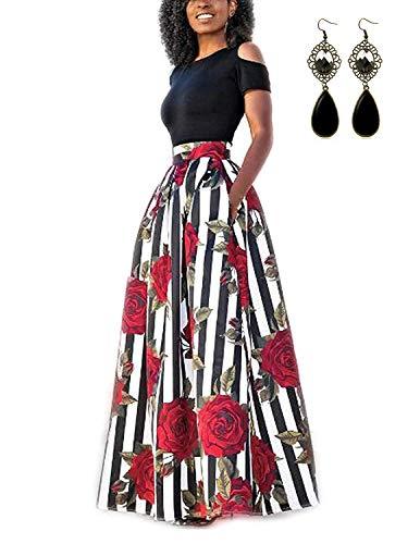carinacoco Donna Vestiti Lunghi Due Pezzi Senza Spalline Manica Corta Camicetta + Rosa Stampa Gonne Lungo Elegante Vestito Maxi da Sera,Nero+Bianco,S