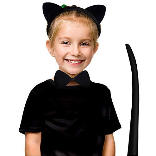 AivaToba Enfants Accessoire de Costume Chat Oreilles Bandeau + Noeuds Papillon + Tail de Costume Cosplay Halloween Noël Party (Noir)