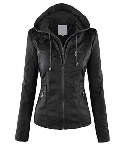 Minetom Damen Herbst Vintage Übergangs Jacke Winter Kunstlederjacke Kapuzenmäntel Zipper Slim Fit Coat Schwarz DE 40