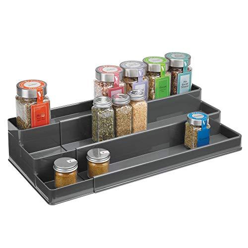 mDesign étagère à épices design pour l'ordre dans la cuisine - présentoir à épices extensible pour comptoir & armoire de cuisine - rangement cuisine pratique à 3 niveaux en plastique - gris ardoise