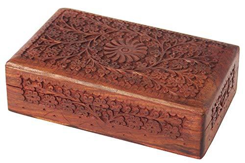 Contenitore di gioielli intagliato artigianalmente in legno, scatola antica di rimessa in plastica di design antico, organizzatore di gioielli