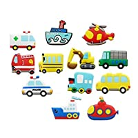 Koolemon 12pcs/lot Vehicles Car Fridge Magnets Whiteboard Sticker Rubber Refrigerator Magnets Home Decoration Educational Kids Gift
