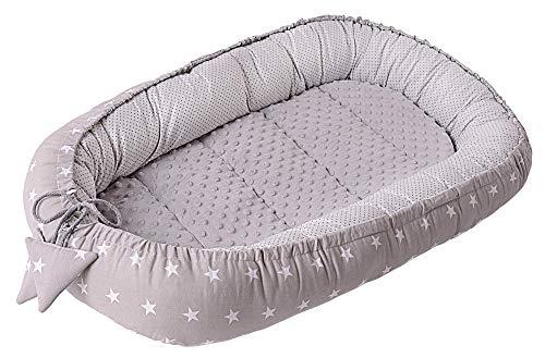 Babynest Kuschelnest Babynestchen 100% Baumwolle Nestchen Reisebett für Babys Säuglinge Medi Partners 90x50x13cm herausnehmbarer Einsatz (graue Sternen mit grauen Minky)