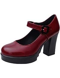 Zapatos de Tacón Alto Ancho Plataforma para Mujer Invierno Primavera 2019  PAOLIAN Zapatos Tacón Grueso Cuña Fiesta Elegantes Vestir… 9156f0c610b9