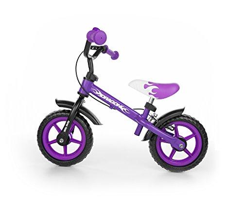 Milly Mally 4782 - Kinderlaufrad 10-Zoll-Räder mit Bremsen und Klingel, lila
