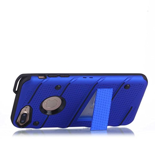 EKINHUI Case Cover Dual Layer Hybrid Armor Schutzhülle Shockproof Stoßfänger mit Kickstand für iPhone 7 Plus / 8 Plus ( Color : Silver ) Blue
