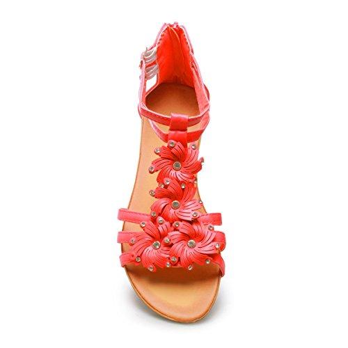 La Modeuse Sandales Femme avec Un Très Petit Compensé Rose