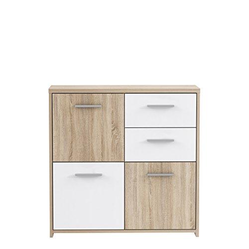 NEWFACE Kommode, Holz, Sonoma Eiche Dekor Kombiniert Mit Weiß, 77.2 x 29.6 x 77.5 cm