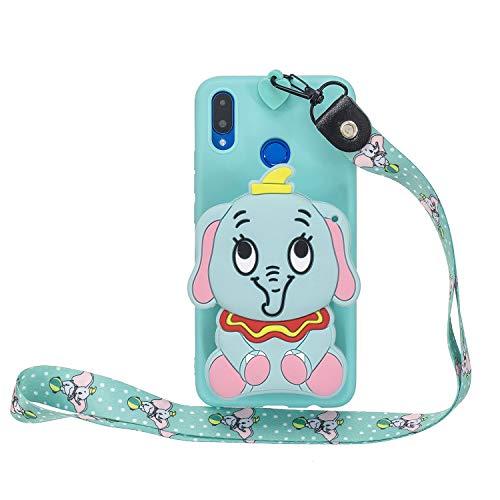 Miagon Silikon Hülle für Huawei Honor 8X,3D Süß Brieftasche Lager Tasche Design mit Halskette Kordel Schnur Handykette Necklace Band,Blau Elefant