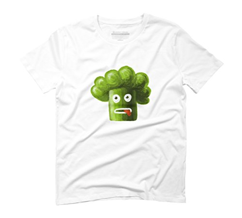 Green Funny Broccoli Men's Graphic T-Shirt - Design By Humans White