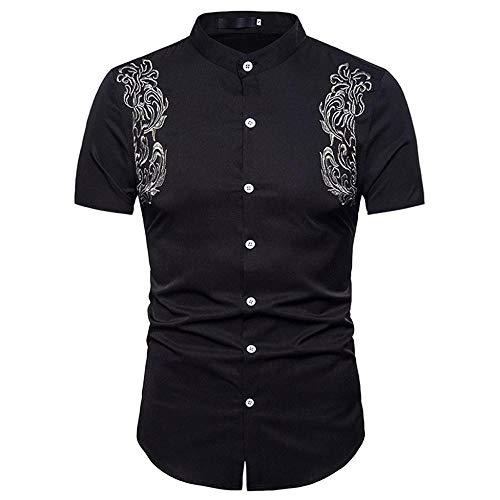 Doublehero Herren Hemd Kurzarm Slim Fit Stickerei Regular fit T-Shirt Elegant Formelle Shirts Casual Tops für Anzug/Business/Hochzeit/Freizeit,Hemden Shirts für Männer Kurzhemden
