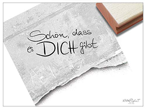 Stempel Textstempel SCHÖN, DASS ES Dich GIBT in Handschrift - Schriftstempel Liebe Freundschaft Familie Karten Briefe Geschenk Deko - zAcheR-fineT -