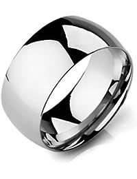 MunkiMix Ancho 10mm Acero Inoxidable Banda Venda Anillo Ring El Tono De Plata Alianzas Boda Hombre