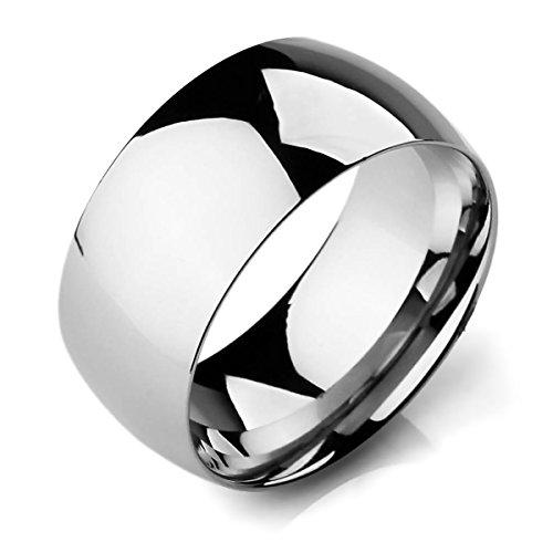 MunkiMix Breite 10mm Edelstahl Band Ring Silber Ton Hochzeit Größe 54 (17.2) Herren,Damen - Silber Band-ringe Breites