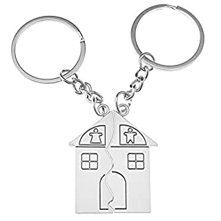 2Pcs Pair Couple Keychain Love Family House Split Man Woman Home Chian Trinket Key Chain for Lovers Alloy Jewelry