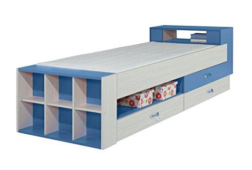 """Kinderbett / Jugendbett \""""Felipe\"""" 17, Blau / Weiß - Liegefläche: 90 x 200 cm"""