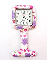 Pink Floral Square Silicon Nurse Doctor Paramedic Tunic Brooch Fob Watch Medical Watch (QBD)