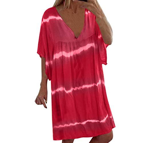 Fuibo Damen Gefaltet Mini Kleid Plus Größe V-Ausschnitt beiläufige lose Pullover Tie Dye Print Minikleider T Shirt Kleid Kurzarm Elegant Blusen (5XL, Pink) -