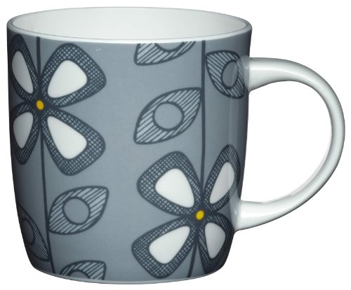 Kitchen Craft Mug en porcelaine fine Motif floral fifties Gris