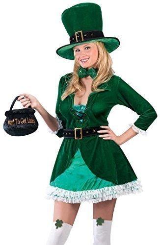 Damen Sexy 7 Stück St. Patrick's Day Kobold Lepricorn + Tasche & Strümpfe Kostüm Kleid Outfit - Grün, 42-44