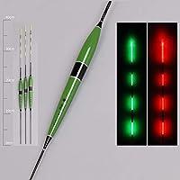 Flotador de pesca nocturno flotador de pesca luminoso, boca de pescar, disparador LED automático, recordatorio de la pesca flotador de pesca con palos luminosos (con pila de botón), verde, 3 partes